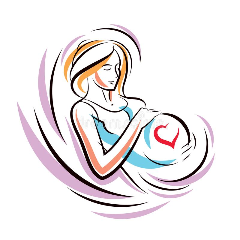 Pregnant woman graceful body outline surrounded by heart shape frame. Vector illustration of mother-to-be fondles her belly. Happiness and caress concept royalty free illustration