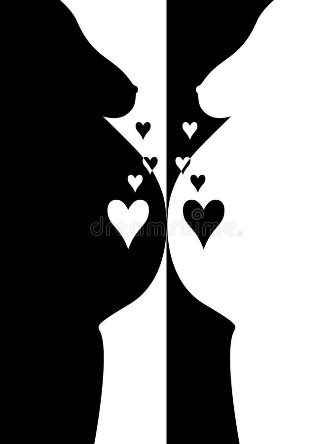 Download Pregnant Woman With Heart B/w Colors Stock Vector - Image: 22958350