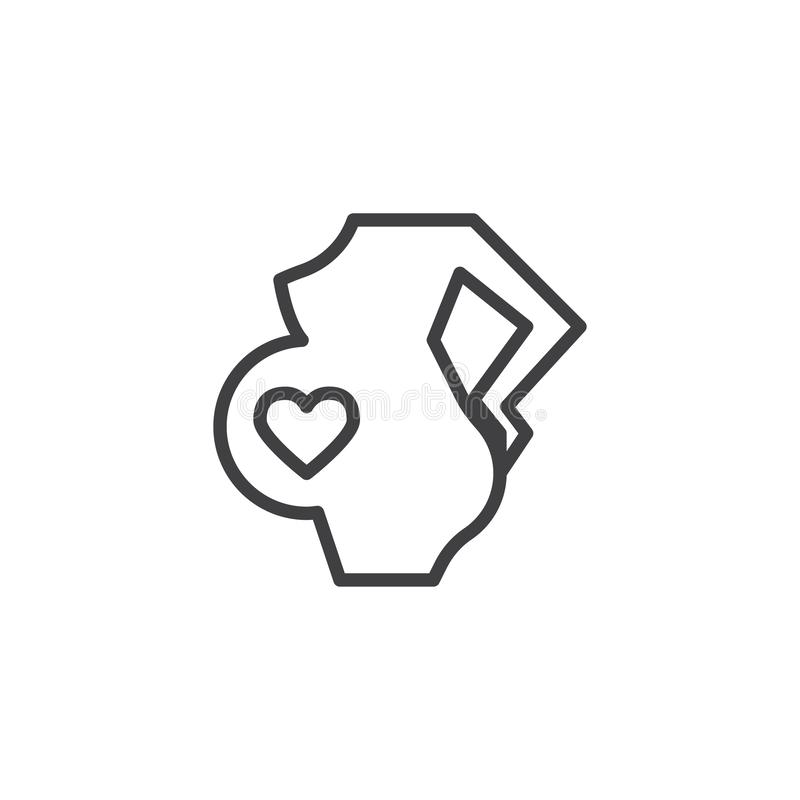Pregnant woman with heart in belly line icon. Linear style sign for mobile concept and web design. Pregnancy outline vector icon. Maternity symbol, logo vector illustration