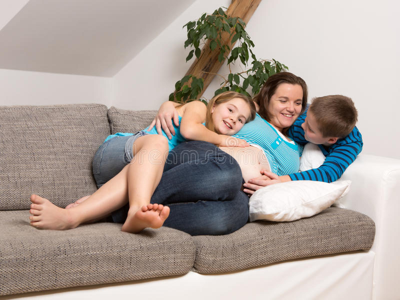 Download Pregnant Woman With Her Children Stock Image - Image: 29459659