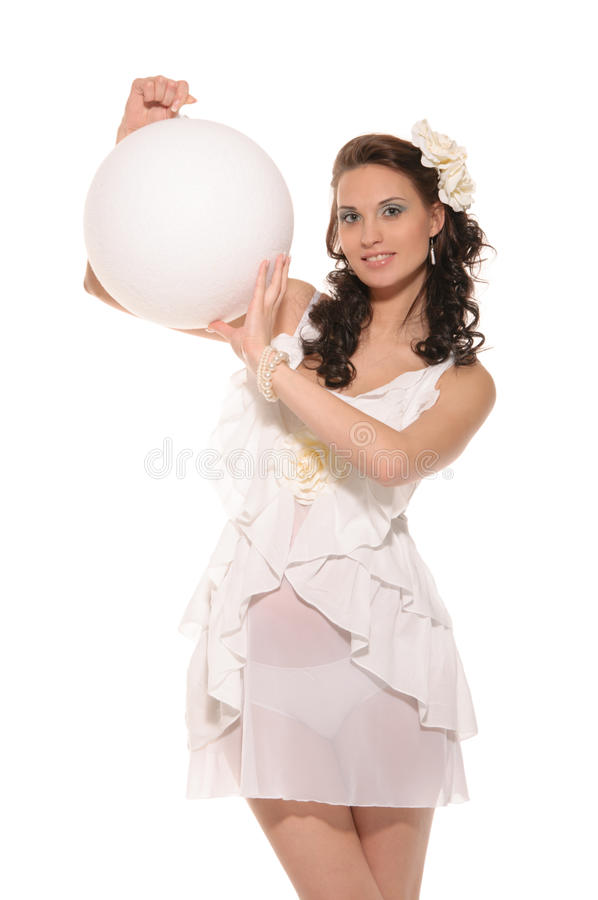 Free Pregnant Woman Holding White Ball Royalty Free Stock Image - 23317556