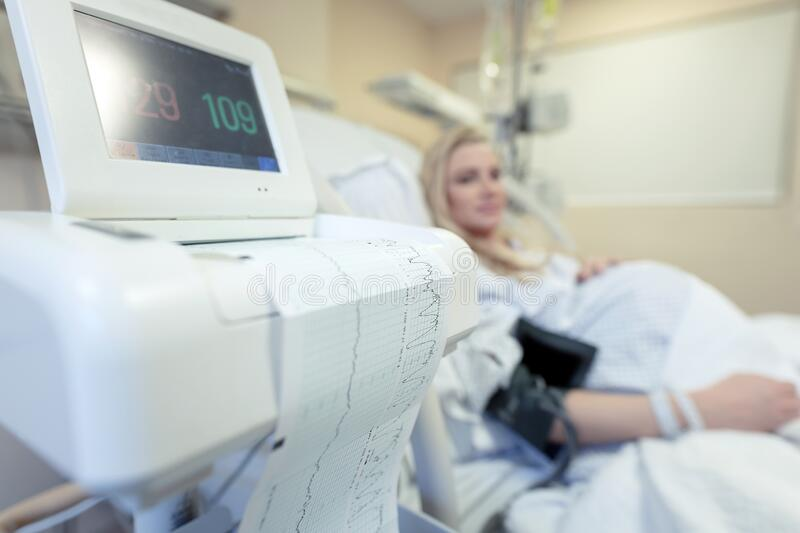 Pregnant woman in the hospital royalty free stock photo
