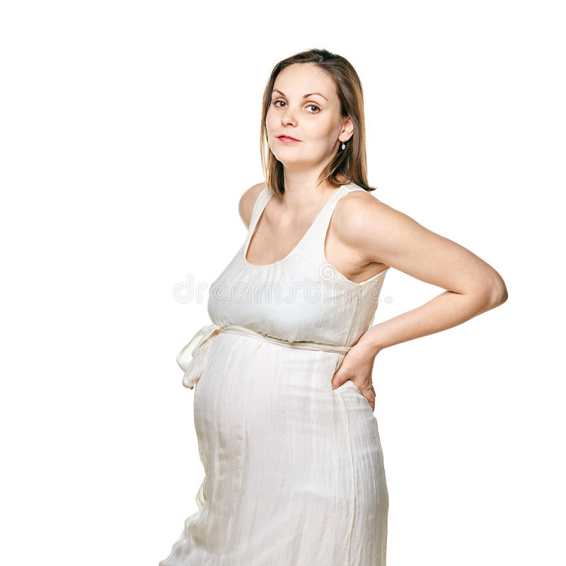 Pregnant woman isolated on a white background stock photography
