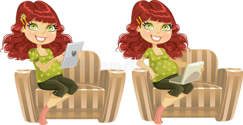 Download Pregnant Woman With Laptop And  Tablet Computer Stock Illustration - Illustration: 21936505