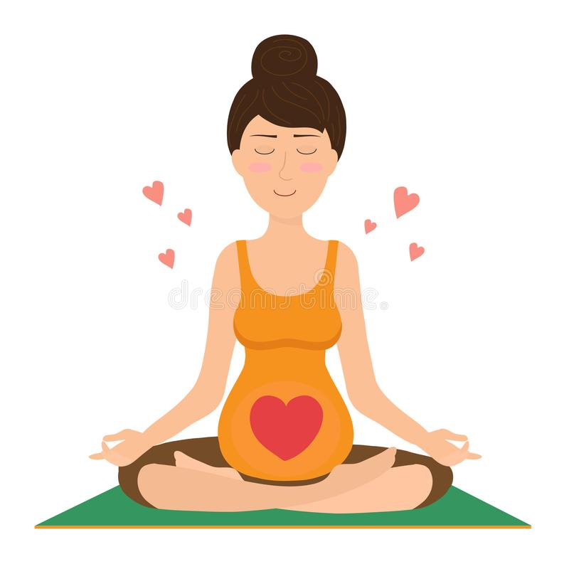 Pregnant woman in lotus position. Vector illustration royalty free illustration