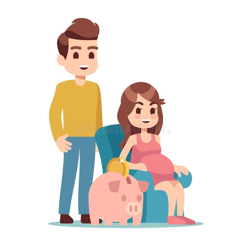 Pregnant woman, man and piggy bank. Saving money for future flat vector illustration royalty free illustration