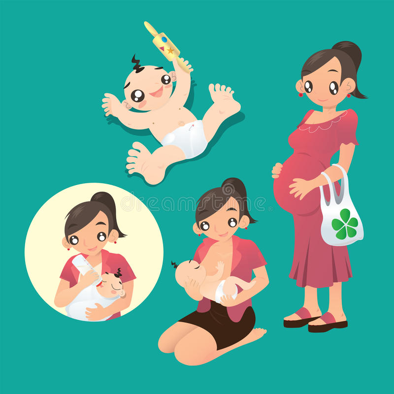 Pregnant woman and a mother breastfeed her baby. Vector illustration of a pregnant woman, a lovely baby and a mother breastfeed her baby stock illustration