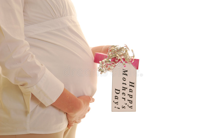 Download Pregnant Woman With Mothers Day Present Stock Photo - Image: 8569566