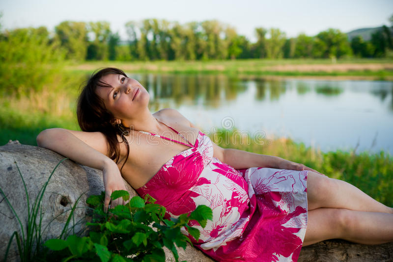 Pregnant woman in nature royalty free stock photo
