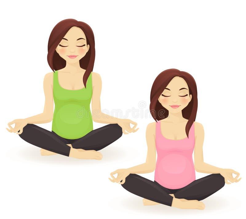 Pregnant woman practicing yoga stock illustration