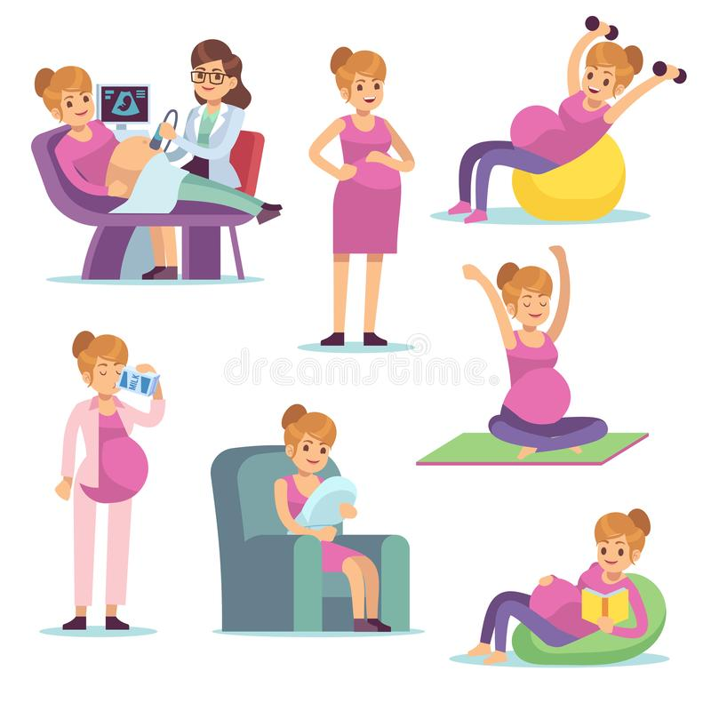 Pregnant woman. Pregnancy female diet eating drinking sitting doing exercises, cartoon vector characters stock illustration