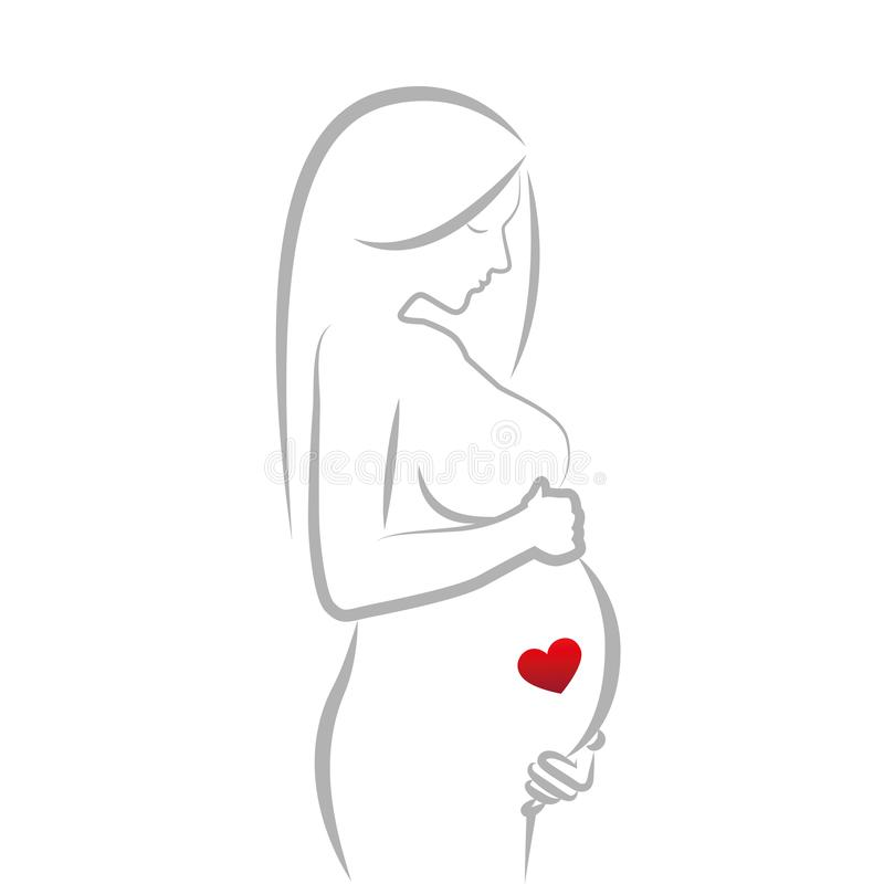 Pregnant woman with red heart in her belly line drawing stock illustration