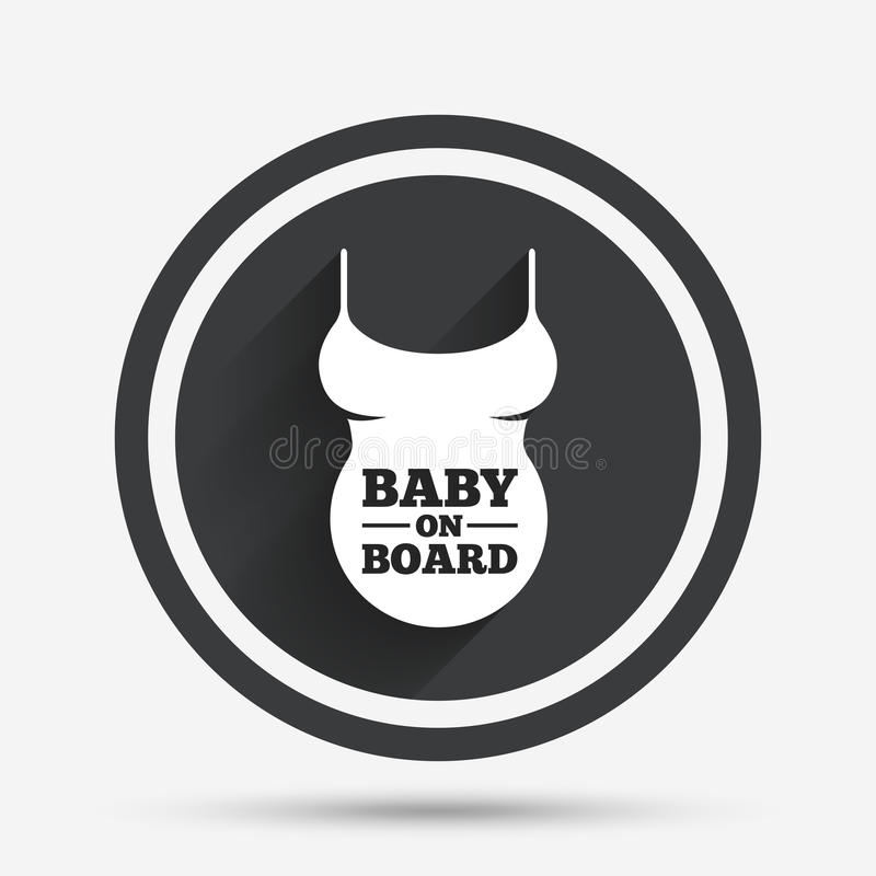 Pregnant woman shirt sign icon. Maternity symbol. Pregnant woman shirt sign icon. Baby on board. Maternity symbol Circle flat button with shadow and border royalty free illustration