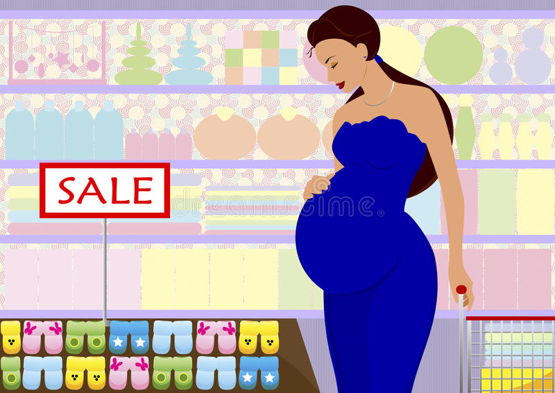 The pregnant woman in shop stock photography