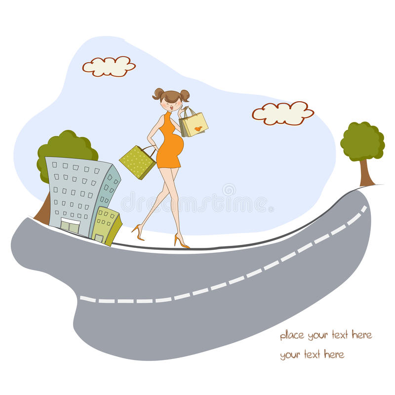 Download Pregnant woman on shopping stock illustration. Illustration of happy - 20561150