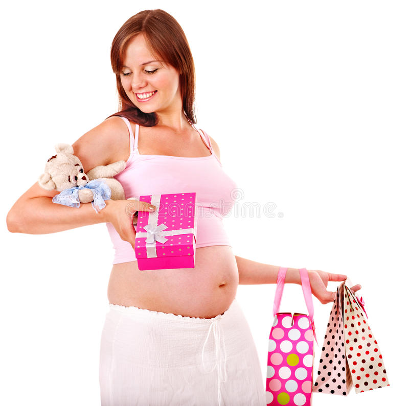 Pregnant woman with shopping bag. Isolated royalty free stock images