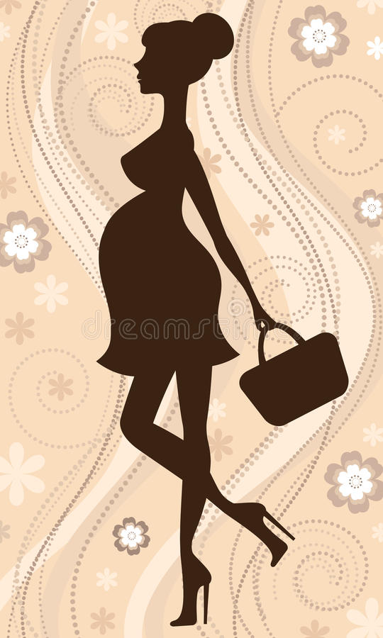 Pregnant woman silhouette vector illustration