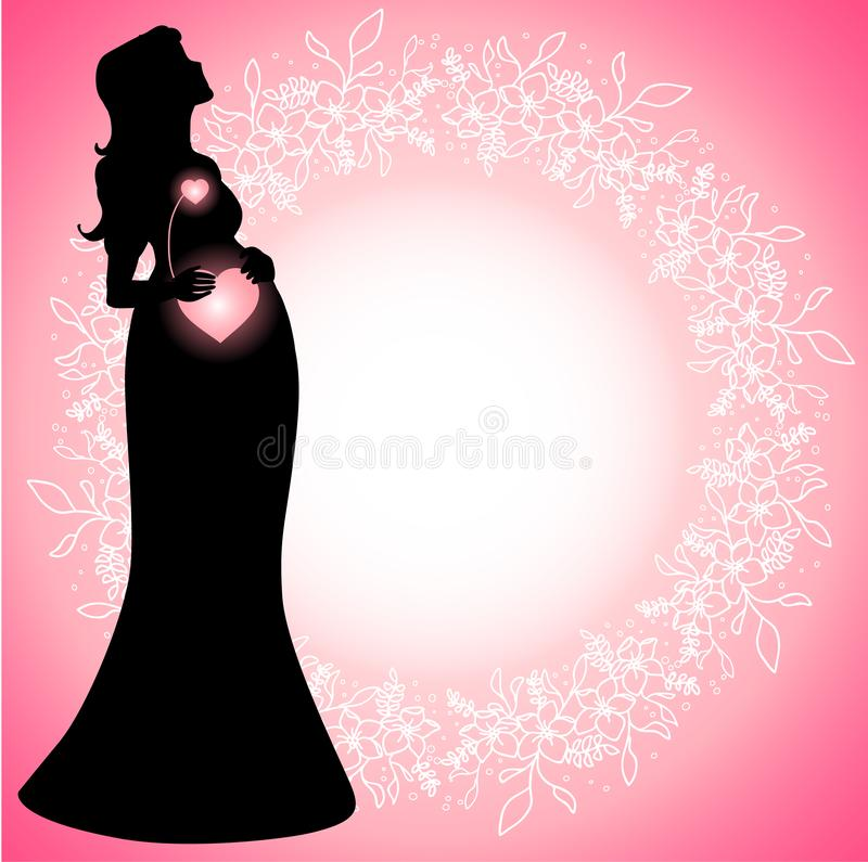 Pregnant woman silhouette with glowing connected hearts royalty free illustration