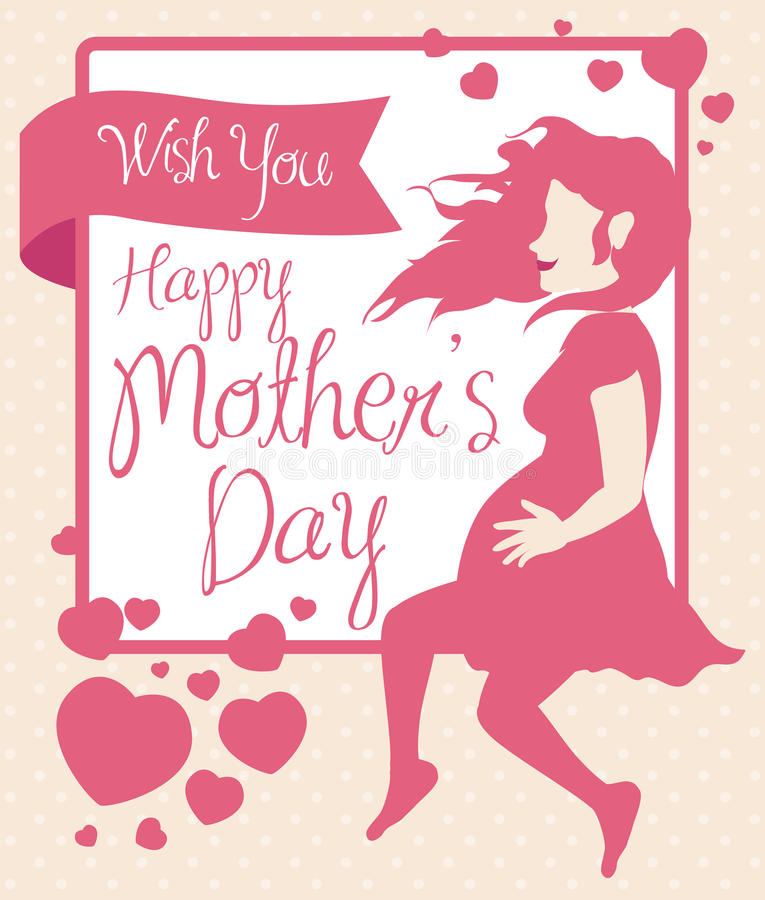Pregnant Woman Silhouette with Hearts for Mother's Day, Vector Illustration stock photos