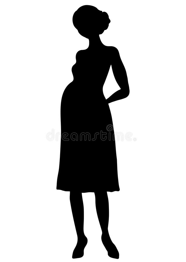 Pregnant woman silhouette, vector outline drawing, shape expectant girl with a big belly full-length, contour black and white port vector illustration
