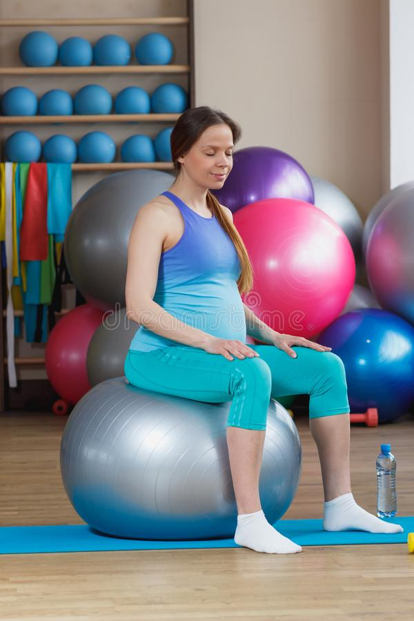 Pregnant Girl With A Ball For Fitness Stock Image - Image ...