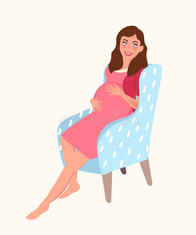 A pregnant girl sits in a chair and touches her stomach. Expecting a baby. Pregnancy. Vector illustration vector illustration