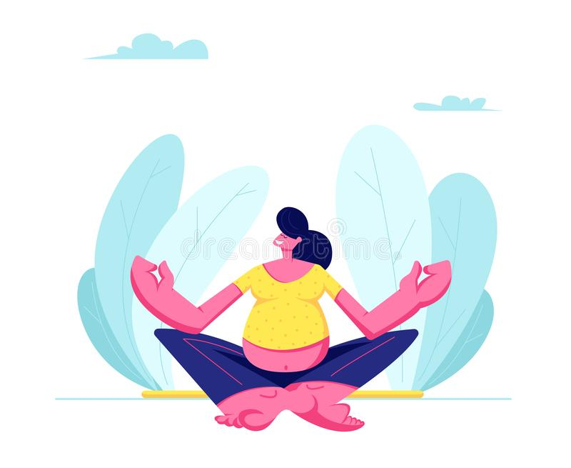 Pregnant Woman Sitting in Lotus Pose Doing Yoga. Young Pregnant Woman Sitting in Lotus Pose Doing Yoga Meditation Outdoors. Health Care, Pregnancy Exercises vector illustration