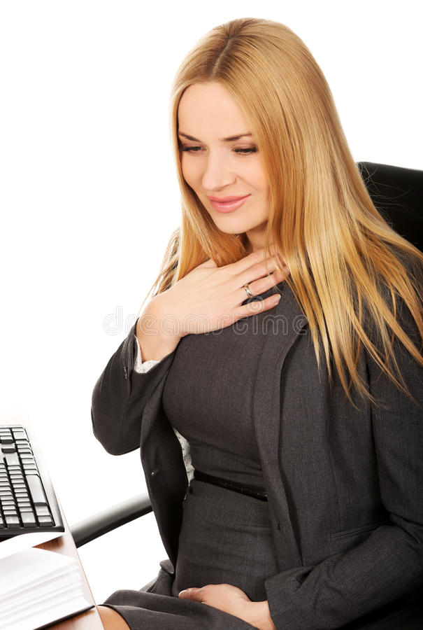 Pregnant woman suffering from nausea stock photography