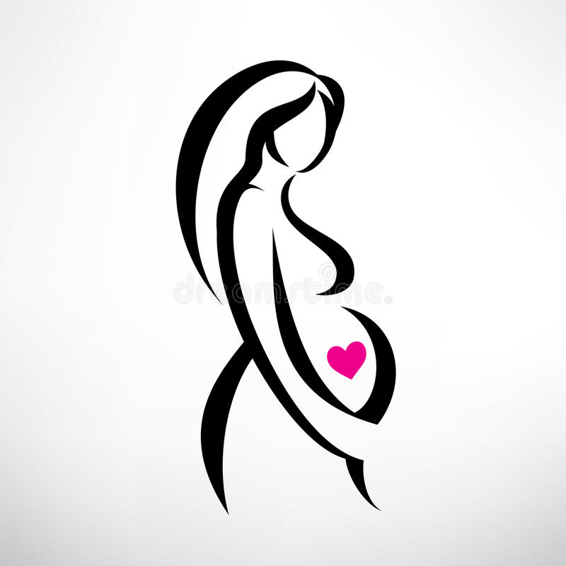 Pregnant Woman Symbol Stock Vector Illustration Of Background