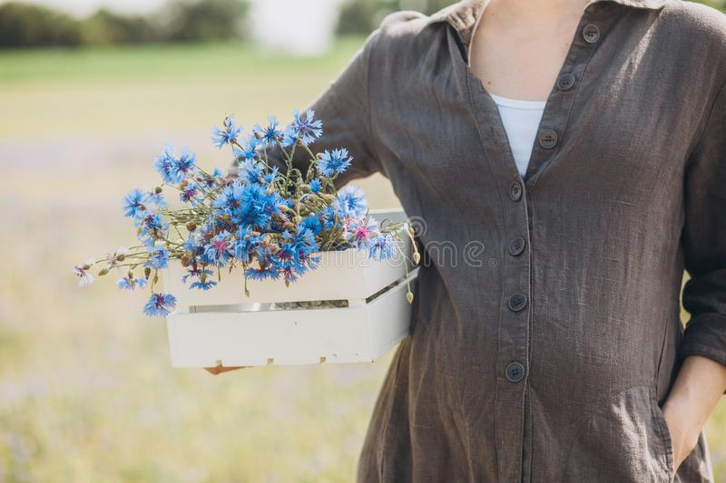 Pregnant woman tenderness health outside field cornflowers. Pregnant woman tenderness and health outside on the field with cornflowers, motherhood, happy stock images