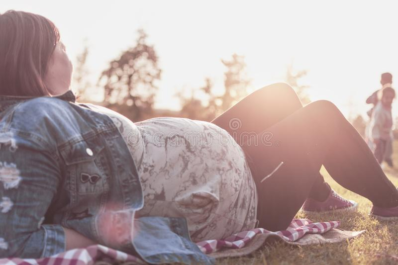 Pregnant woman with two children at the picnic royalty free stock images