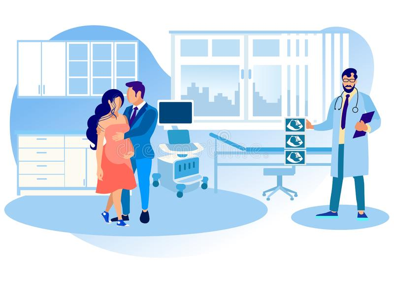 Pregnant Woman Visit Hospital for Belly Sonography royalty free illustration