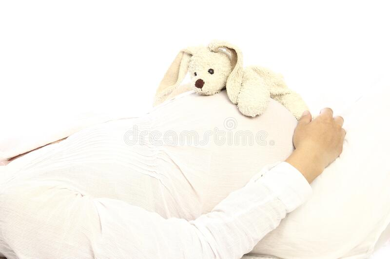 Pregnant woman on a white background. A Pregnant woman on a white background with rabbit stock photo