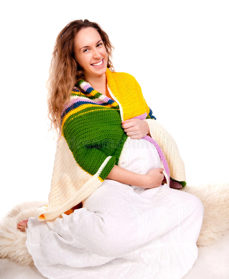 Pregnant Woman In White Dress Royalty Free Stock Images