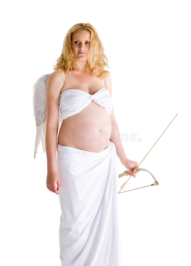 Pregnant woman with wings stock images