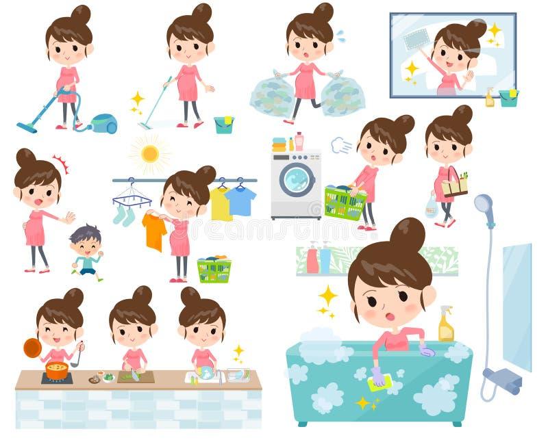 Pregnant women_housekeeping royalty free illustration