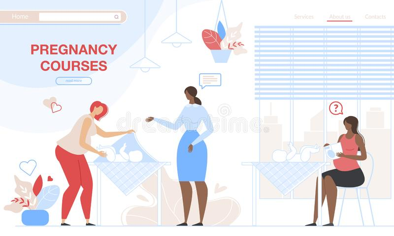 Pregnant Women Learning to Care of Newborn Baby. Pregnant Women Learning how to Care of Newborn Baby on Special Pregnancy Courses with Tutor. Girls Practice to stock illustration