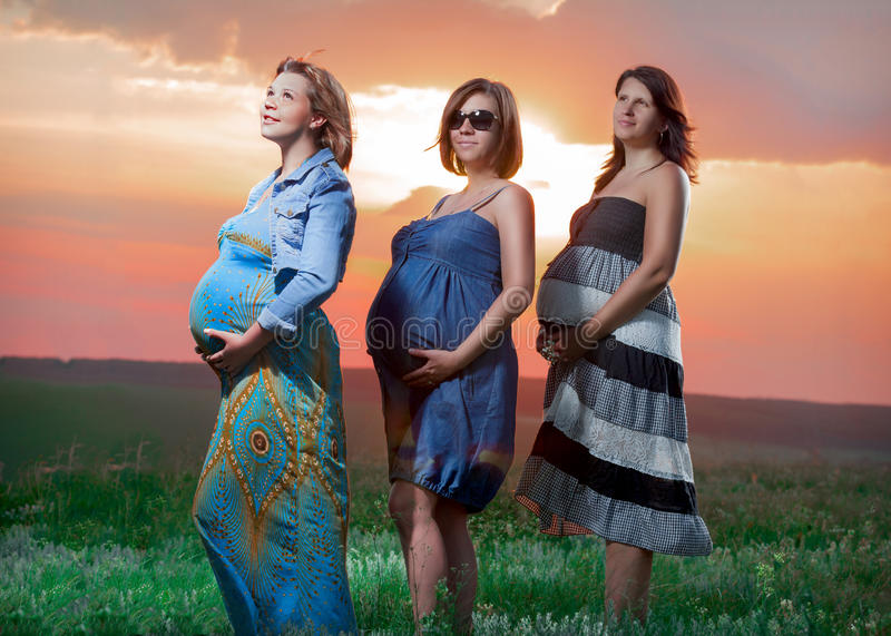 Pregnant women are at sunset royalty free stock image