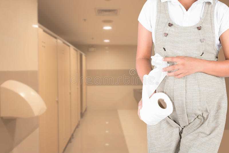 Pregnant women urinary pain. In toilet royalty free stock photo