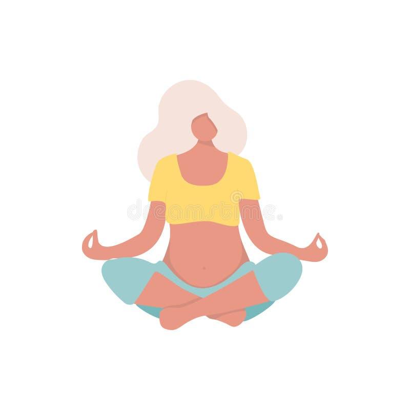 Pregnant yoga pose for yoga studio. stock illustration