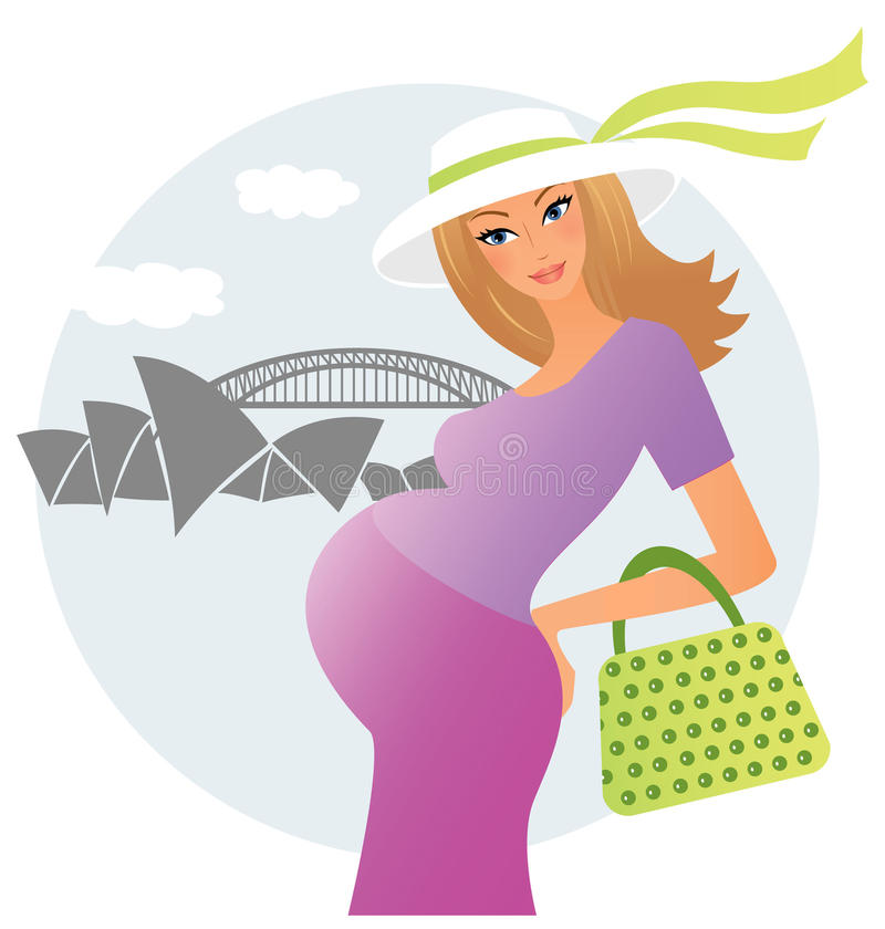 Pregnant young woman royalty free illustration