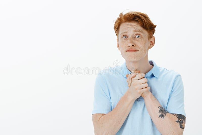 Prego glie l'compri Fratello germano maschio della testarossa attraente intensa impaziente con le lentiggini, tenentesi per mano  immagine stock