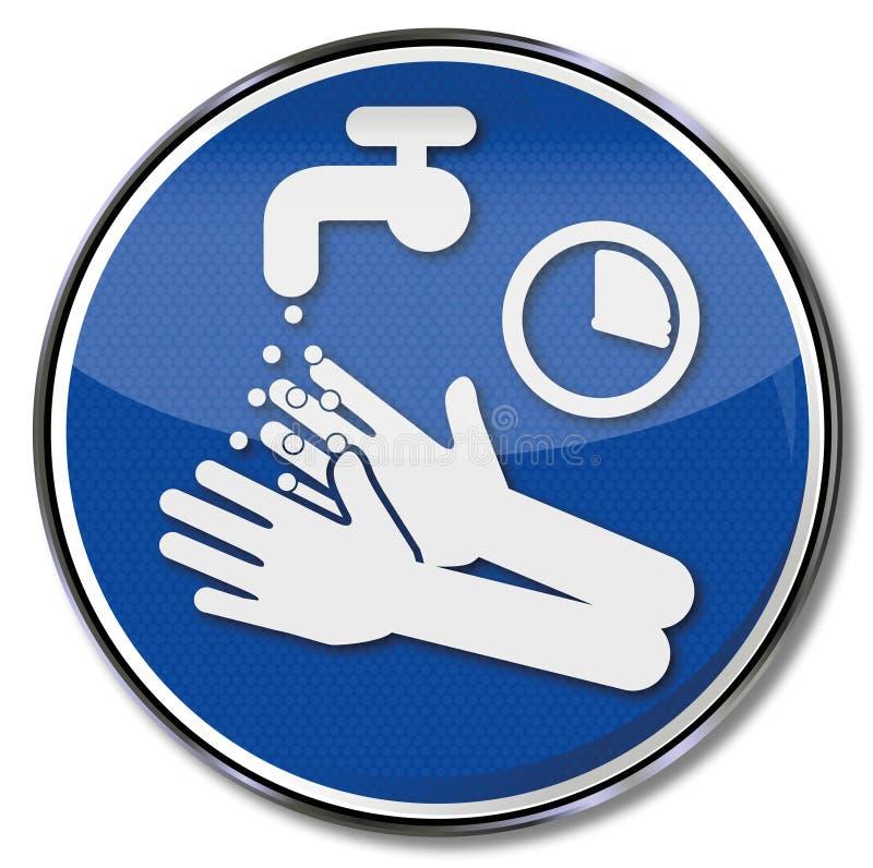 Prego lavi e disinfetti le mani per 15 secondi illustrazione di stock