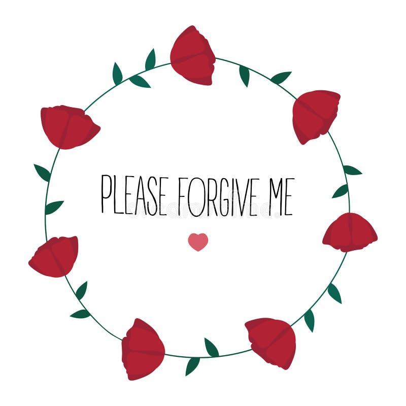 Prego perdonimi il testo Rose e cuore illustrazione di stock