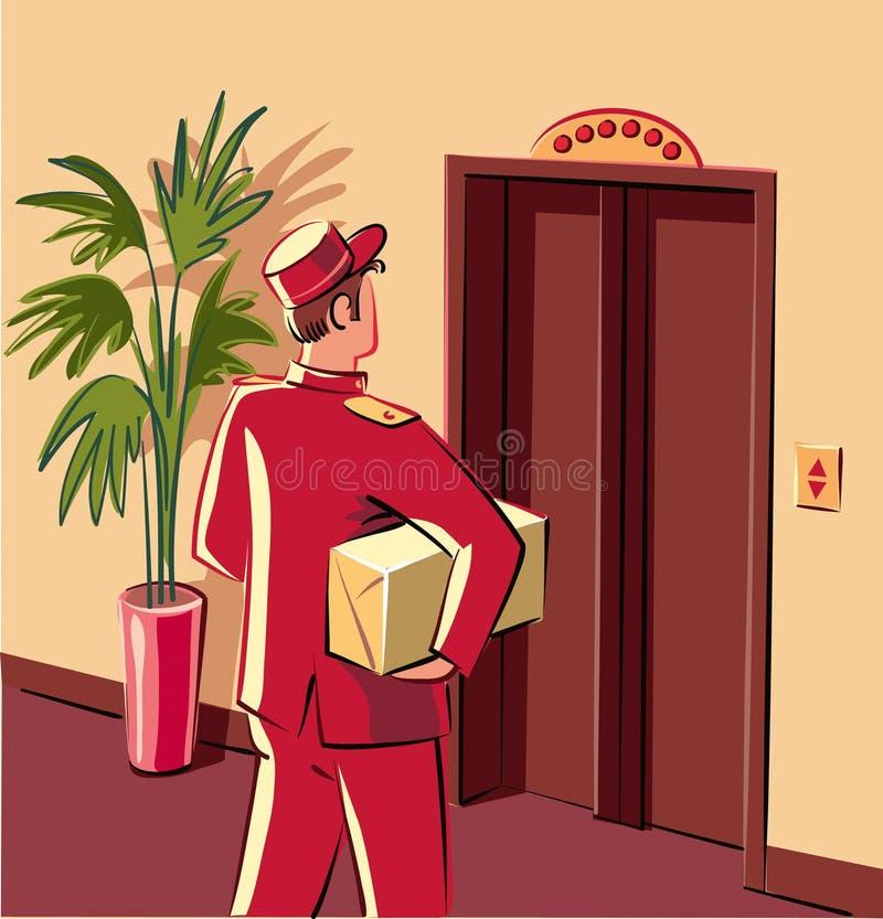 Pregoeiro público na libré vermelha, que se está preparando para entrar em um elevador, ilustração stock