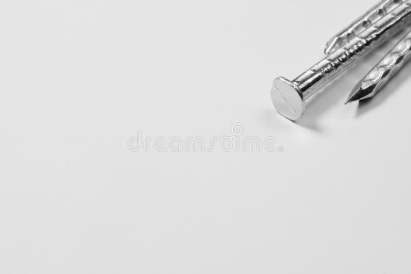 Pregos do metal no fundo branco ferramentas de funcionamento fotos de stock