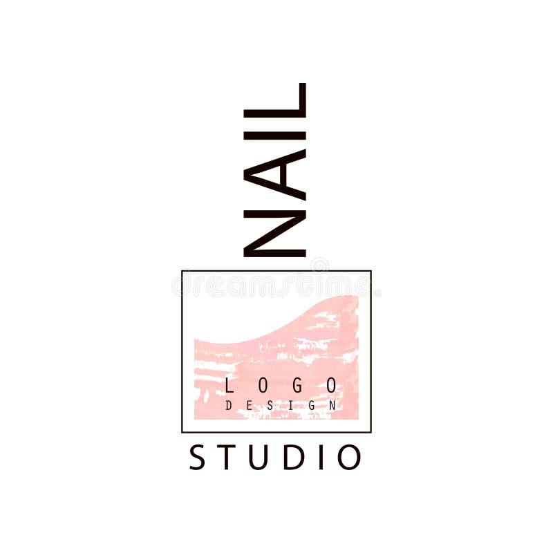 Pregue o logotipo do estúdio, molde criativo para a barra de prego, bar do tratamento de mãos, ilustração do vetor do técnico do  ilustração royalty free