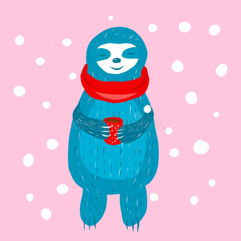 Preguiça azul bonito dos desenhos animados dentro ilustração royalty free