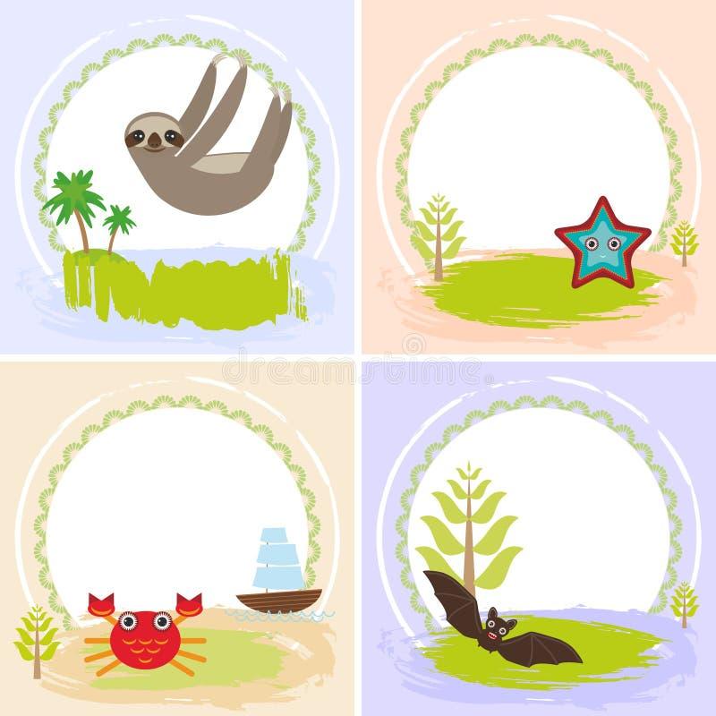 Preguiça, caranguejo, câncer, estrela do mar, bastão, grupo do projeto de cartões com animais engraçados, bandeira do molde para  ilustração stock