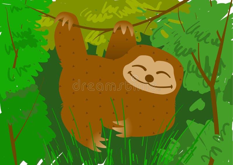 Preguiça que pendura em um ramo no vetor da selva fotos de stock royalty free